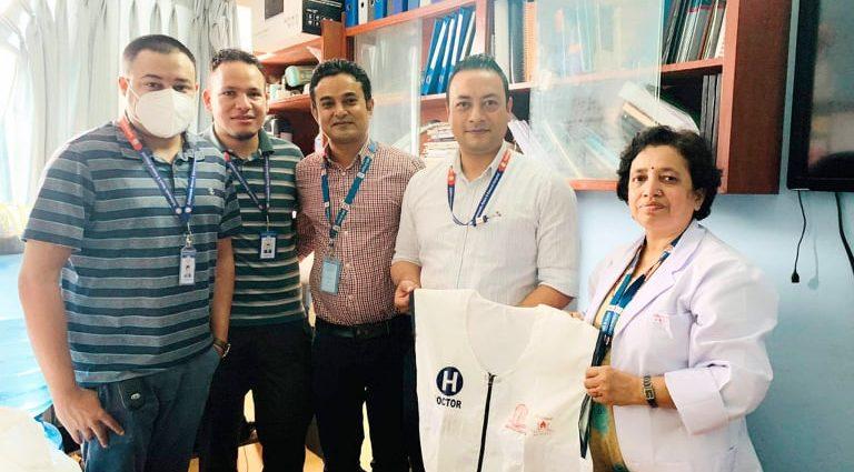 Department of Anesthesia handed over the jacket to Bir Hospital by Swastisri Gurukul School Kathmandu